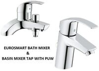 GROHE Eurosmart Bath Shower Mixer & Basin Mixer Tap PUW  25105000 + 3326520L