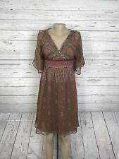 Adrianna Papell Petite 6P 100% Silk Shell Brown Paisley Floral Dress