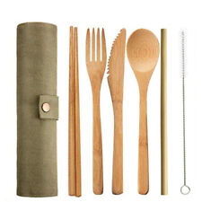 BAMBOO CUTLERY 7 PIECE SET | reusable CAMPING BAMBOO SET | TRAVEL CUTLERY | ARMY