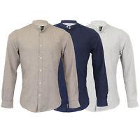 Mens Linen Cotton Shirt Threadbare Grandad Collar Long Sleeved Work Casual New