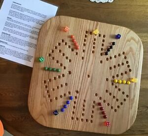 """STAY AT HOME  23 """" Wooden Oak Aggravation Game Board - 2 To 6 Players.   NEW"""