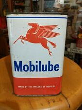 Vintage Original Mobilube Pegasus 2 Pound Quart Size All Metal Can NICE!