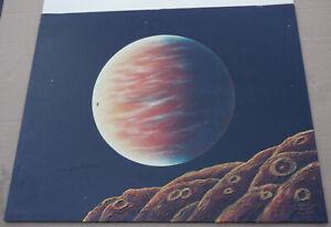 1975 Morris Scott Dollens Original Painting Mars and its Moons Sci-Fi Space Art
