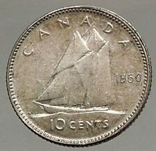 1950 CANADA King George VI - Silver 10 Cent SILVER Coin - BLUENOSE SHIP i57103