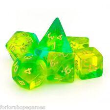 Aqua GEM BLITZ POLY Dadi Set 7 polinomiale per D20 RPG ROLEPLAY