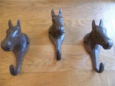 A PAIR OF FOLK ART HAND WROUGHT IRON HORSE HEAD WALL HOOKS COAT HOOK HANGER  BH4