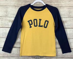 Polo Ralph Lauren Long Sleeve Shirt Boys Size Medium- Yellow Blue