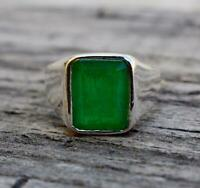 Natural Green Emerald Gemstone 925 Sterling Silver Unisex Gift Ring Jewelry