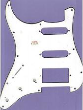 "LEFT HANDED ""STRAT"" STYLE PICKGUARD/SCRATCHPLATE, WHITE/BLACK/WHITE, HUMBUCKER"