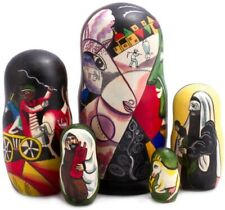 """7"""" I and the Village by Chagall Nesting Doll. Hand Painted Russian Matryoshka"""