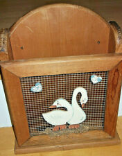 Vintage Wood Chicken Wire Painted Geese Free Standing Wall Mount Magazine Rack
