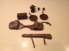 Marx Accessories For Johnny West Series Vintage Nine Pieces Saddle Bag Camping