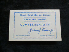 Vintage 1964-65 Mount Saint Mary's College Basketball & Other Sports Schedule