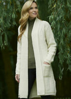 Aran Crafts Natural Long Merino Knitted Coat Cardigan sh4788 - Made in Ireland