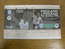 09/10/1996 Ticket: England v Poland [At Wembley] Sample Ticket (complete). Condi