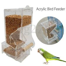Acrylic Clear Pet Bird Cage Hanging Feeder Parrot Cockatiel Tiger Skins Canary