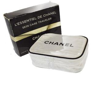 Authentic CHANEL Logos Vanity Cosmetic Hand Bag Vinyl Canvas White Black 01MH109