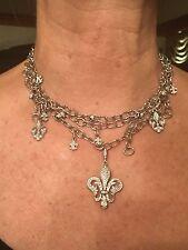 Loree Rodkin Fabulous Elizabethan Fleur De Lis Diamond White Gold Necklace!!