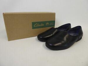 Clarks - Men's Harston Lounge Black Leather Slippers - UK Size 6