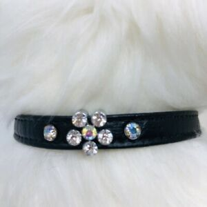 Dog Puppy Collar - Rhinestone Bling Sparkle Flower - Made in USA - Mirage, Black