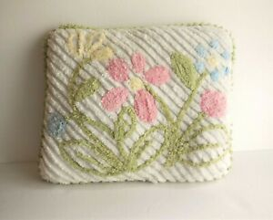 Retro Vintage-Look Chenille Pillow White w Pastel Flowers Signed on Back 13x13