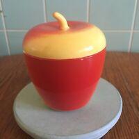 Vtg Hazel atlas Milk Glass Jam Jar Apple yellow red kitchen decor retro Unique