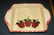 EAST TEXAS POTTERY CREAM WITH RED SPONGEWARE APPLES DESIGN CASSEROLE DISH