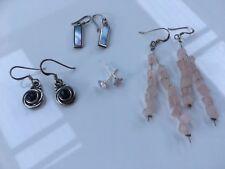 Bulk Estate Lot Sterling Silver .925 Earrings With Stones Rose Quartz Onyx Pearl