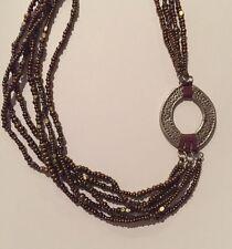 Silpada Necklace Sterling Silver Pendant Multi Strand Metallic Copper Bronze Bea