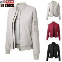 Women Winter Warm Zipper Up Bomber Jacket Ladies Casual Long Sleeve Coat Outwear