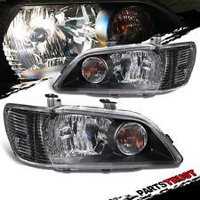 2002-2003 Mitsubishi Lancer ES/LS/OZ Black Headlights Head Lamps Pair