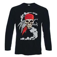 PIRATE SKULL LONG SLEEVE T-SHIRT - Pirates Fancy Dress Goth Crossbones -FREE P&P
