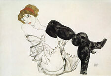 Egon Schiele Reproductions: Woman in Black Stockings- Fine Art Print