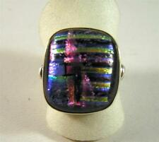 Dichroic Glass Colorful Striped Rectangle Ring Sterling Silver Size 6.5