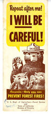 Old Smokey the Bear Paper Advertising Bookmark