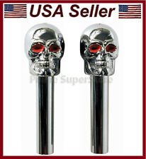 2 New Universal Skull Door Lock Knobs Fit All Cool Chrome/Silver Skulls Head