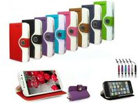 ETUI COQUE HOUSSE PORTEFEUILLE PU CUIR POUR IPHONE 4/5/5S/5c + FILM + STYLET