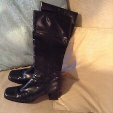 Fiore Black Knee High Leather Boots Size 5