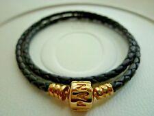 Pandora Black Leather Bracelet 14K Gold Clasp 38 cm / 15'' 550705CBK-D2 with tag