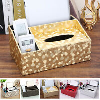 PU Leather Tissue Box Dispenser Cover Paper Storage Holder Napkin Case