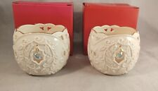 Set of 2 Lenox Holiday Garden Light Holly Votive Candle Holders