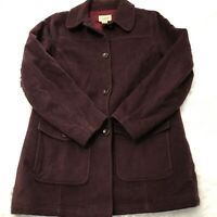 LL Bean Womens Size Large Burgundy Wool Button Down Coat Front Pockets EUC