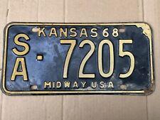 1968 Kansas License Plate 7205 Saline County Original 68