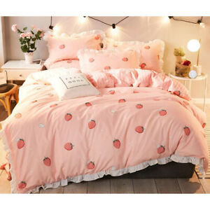 Strawberry 100%Cotton Bed Set Duvet Quilt Cover+Ded Skirt+Pillow Case Four-Piece