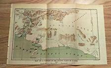 Early 1900's Map of Pacific Coast Alaska Glaciers St. Elias Range Unexplored