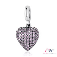 Pink Heart Pendant Charm Genuine 925 Sterling Silver 💞 For Charm Bracelet