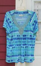 Avenue Blue Beaded/Rhinestone Short Sleeve V Neck Polyester/Spandex Blouse 18/20