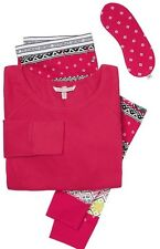 Victoria's Secret Fireside Thermal Pajamas Red / Patchwork New With Tags XL