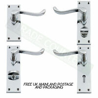 Internal Door Handle Chrome SETS - Lever Lock, Latch, Privacy Or Bathroom Scroll