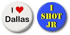 DALLAS 2 SET  - 1 inch / 25mm Button Badge - Novelty Cute I Shot JR Heart
